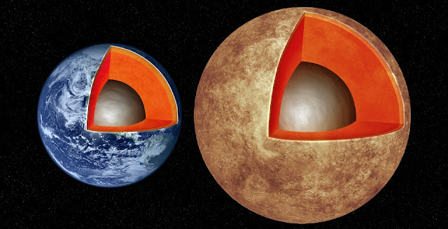 This artist's illustration compares the interior structures of Earth (left) with the exoplanet Kepler-93b (right), which is one and a half times the size of Earth and 4 times as massive. New research finds that rocky worlds share similar structures, with a core containing about a third of the planet's mass, surrounded by a mantle and topped by a thin crust. M. Weiss/CfA