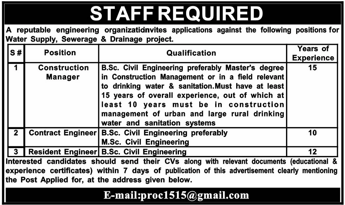 Construction Manager, Contract Engineer, Resident Engineer Jobs In Reparable Engineering Organization  Dec 2017