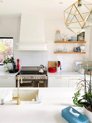 white and blue kitchen renovation