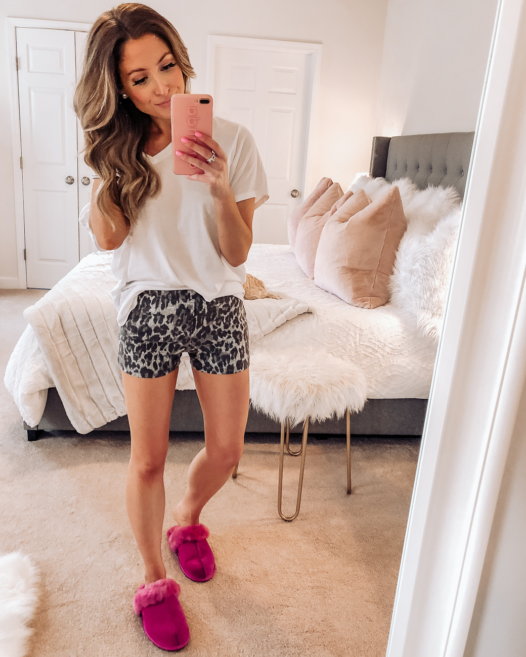 nordstrom bp leopard fitted cozy lounge shorts