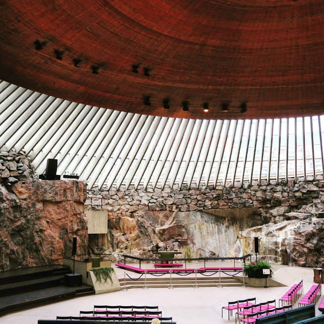 Interior of the Rock Church in Helsinki, Finland