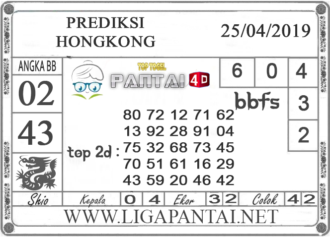 """Prediksi Togel """"HONGKONG"""" PANTAI4D 25 APRIL 2019"""