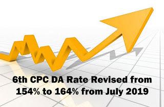 6th CPC DA Rate Revised from  July 2019 Central Government Employees