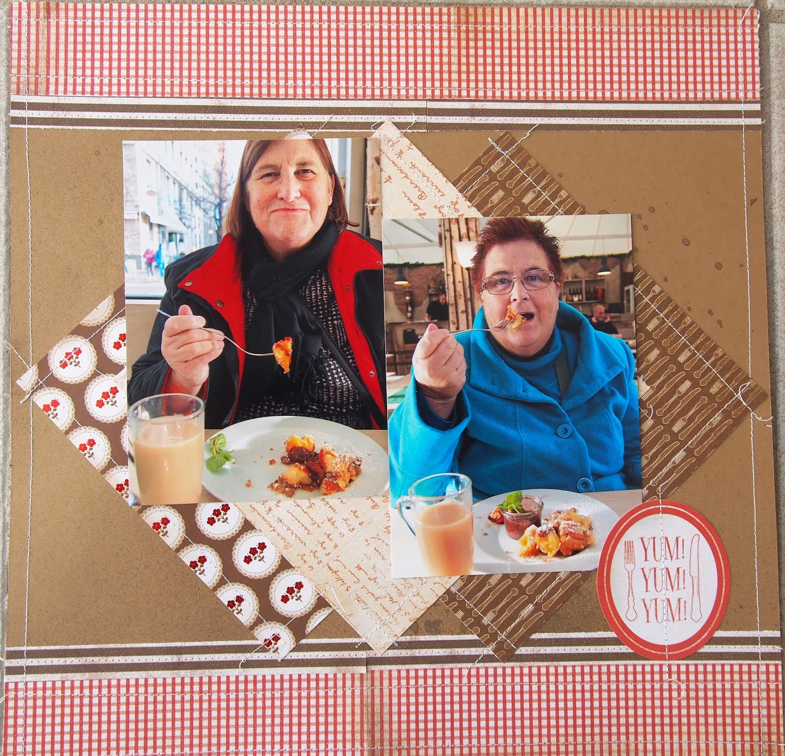 Scrapbook ideas sister - This Is A Layout I Completed And It Shows My Sister And I Enjoying Pancakes With Raspberry Sauce In Berlin Germany And Yes We Are Still Eating Our Way