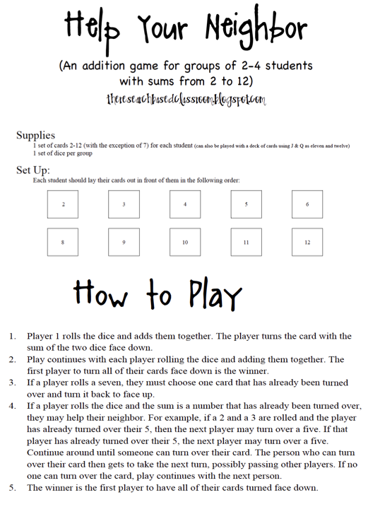 Addition Facts to 12 Game from The Research Based Classroom