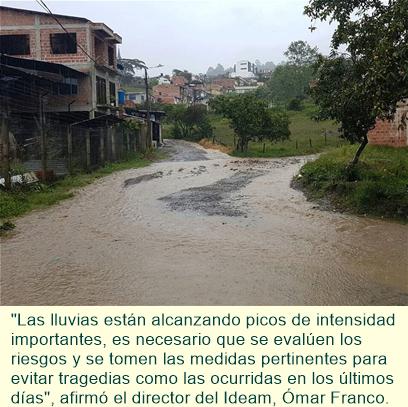 Nueve departamentos colombianos en alerta por lluvias
