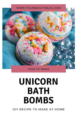 How to make your own unicorn bath bombs. These diy natural bath bombs are cute for kids or for adults. They use an all natural fragrance oil blend called Unicorn Kisses, or you can use essential oil blend to make yours. These are fizzy with citric acid and baking soda.  They also have Epsom salt and coconut oil. Making home made bath bombs is easy with this DIY recipe. #diy #unicorn #bathbomb #unicornbathbomb