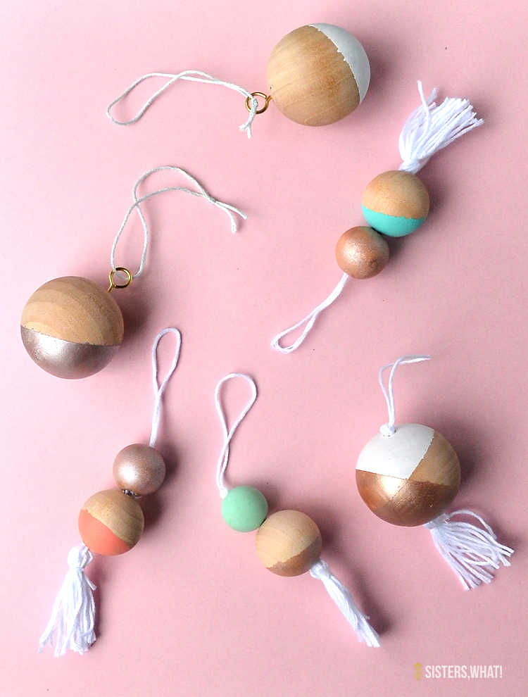 color block wood bead ornaments