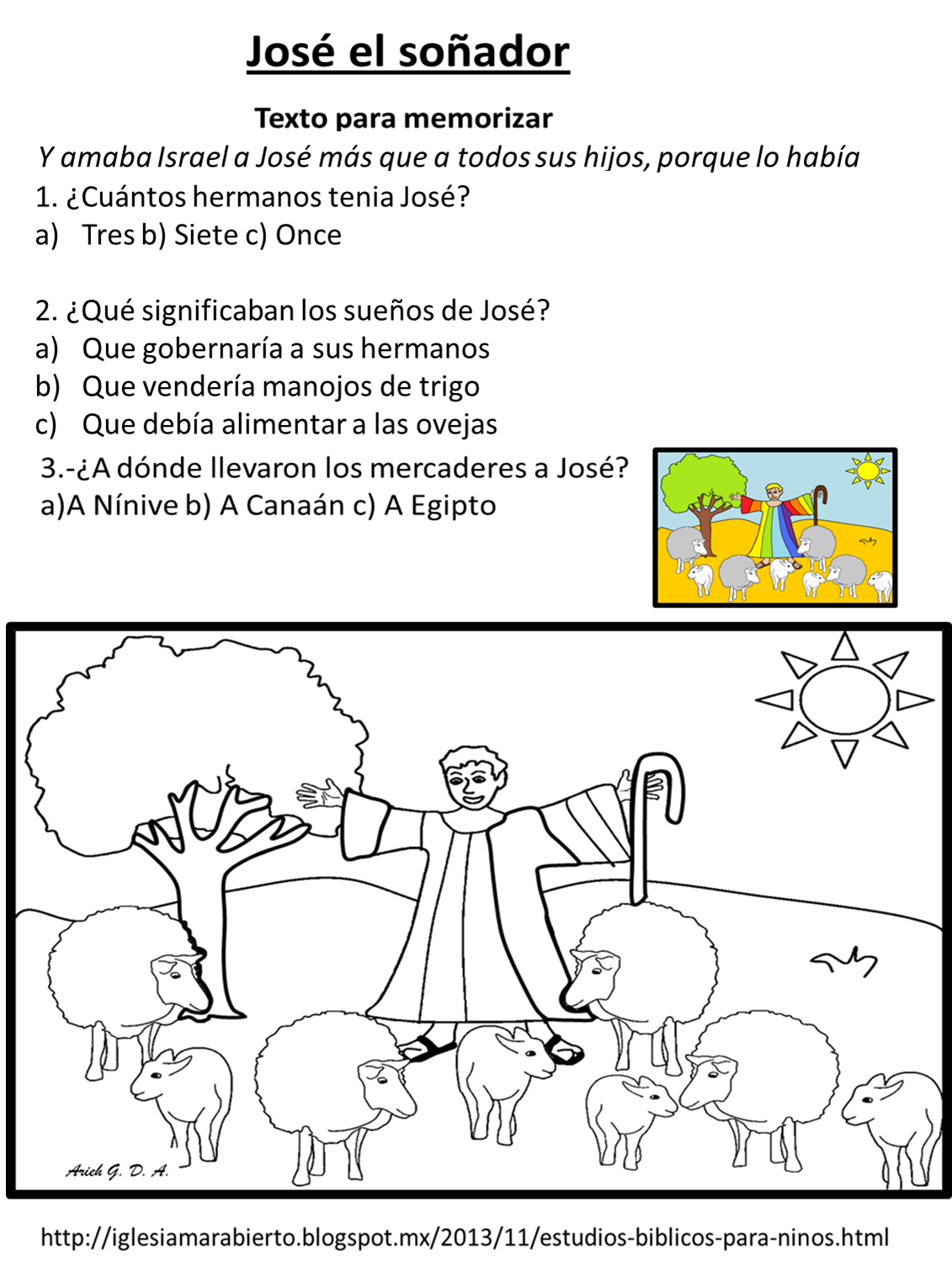 IGLESIA MAR ABIERTO: Estudio bíblico para niños - José el ...