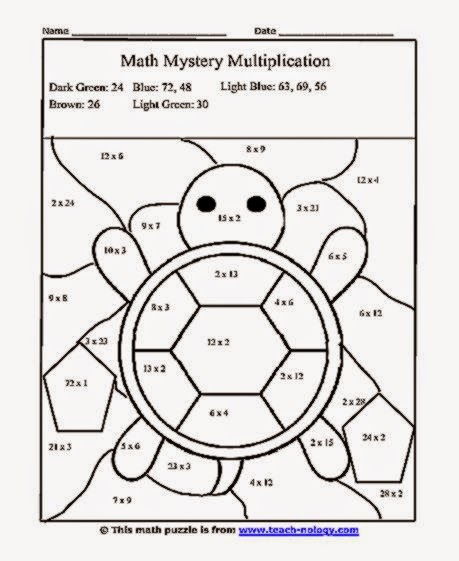 Free Coloring Sheet: Multiplication Color Sheet