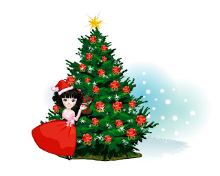 Christmas doll,tree and star Wallpaper