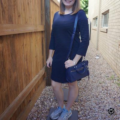 Atmos&Here navy stripe long sleeve tee dress