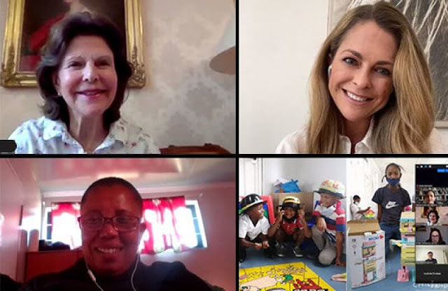 Swedish Queen Silvia and Princess Madeleine paid an online visit to the Philisa Abafazi Bethu Family Center in Cape Town