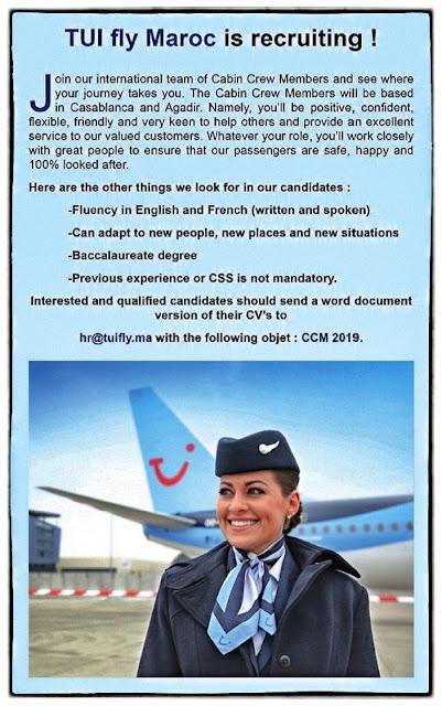 توي فلاي المغرب: الترشيح لتوظيف أعضاء طاقم الطائرة بكل من الدار البيضاء وأكادير
