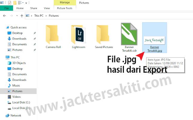 Menyimpan File jadi JPG di CorelDraw X7