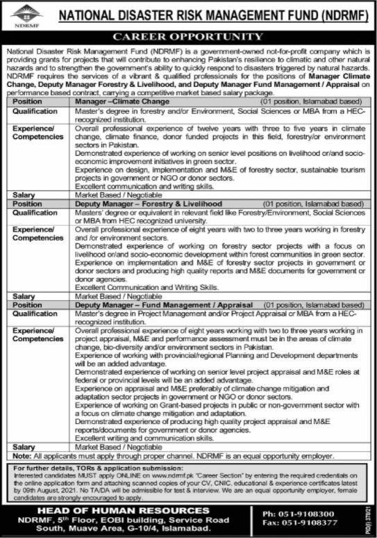 JOBS | National Disaster Risk Management Fund (NDRMF)