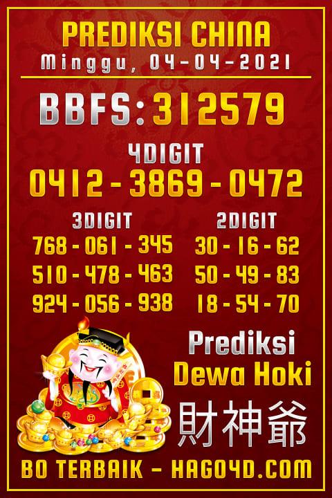 Prediksi Dewa Hoki - Kamis, 4 April 2021 - Prediksi Togel China