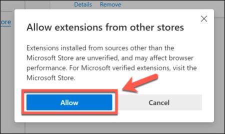 انقر فوق السماح للسماح باستخدام ملحقات Chrome في Edge