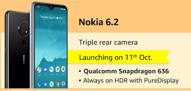 Nokia 6.2 with triple rear camera launching on October 11