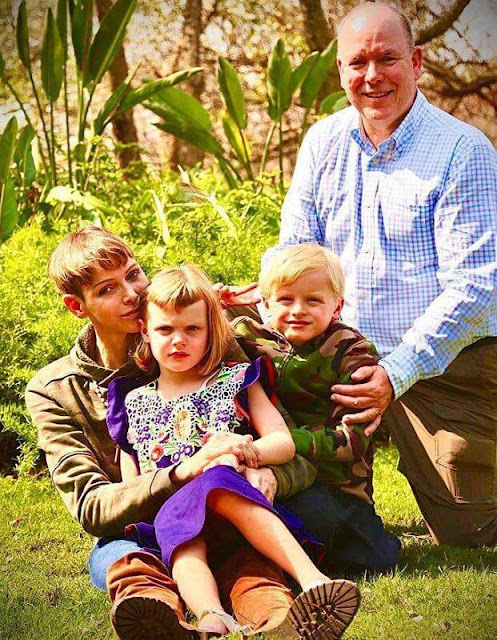 Princess Charlene wore a camo zip-up hoodie from Polo Ralph Lauren and air force sneaker from Nike. Prince Jacques and Princess Gabriella