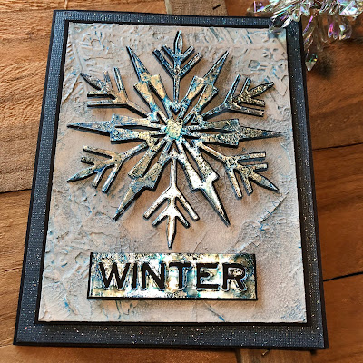 Mixed Media Techniques Tutorial by Sara Emily Barker for The Funkie Junkie Boutique https://frillyandfunkie.blogspot.com/2019/01/saturday-showcase-easy-mixed-media.html Tim Holtz Sizzix Alterations Ice Flake 18