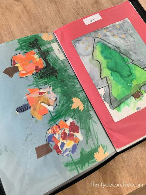 storing large kids artwork in portfolios