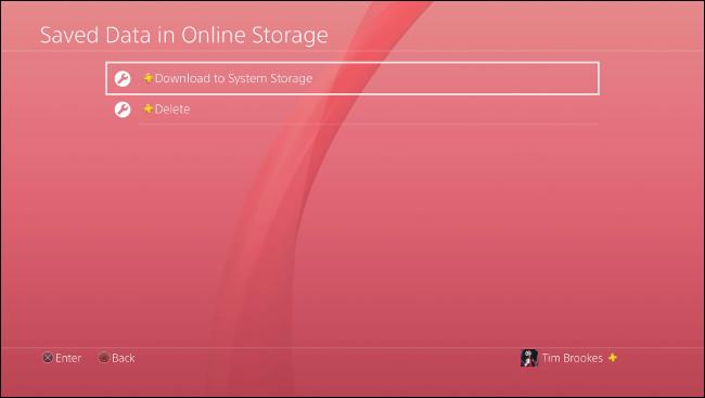 """حدد """"تنزيل إلى تخزين النظام"""" على PS4."""