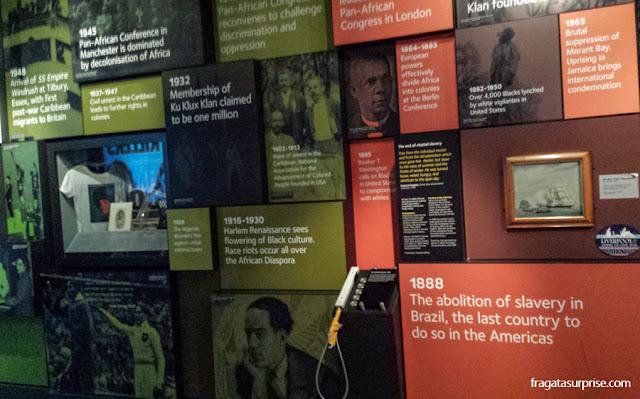 Linha do tempo no Museu da Escravidão de Liverpool