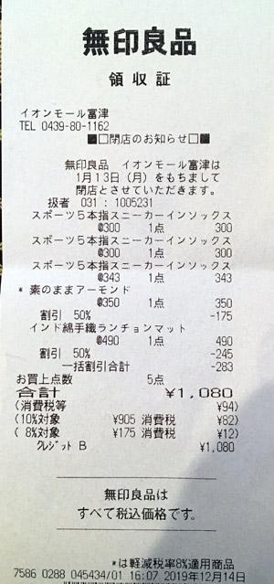 無印良品 イオンモール富津 2019/12/14 のレシート