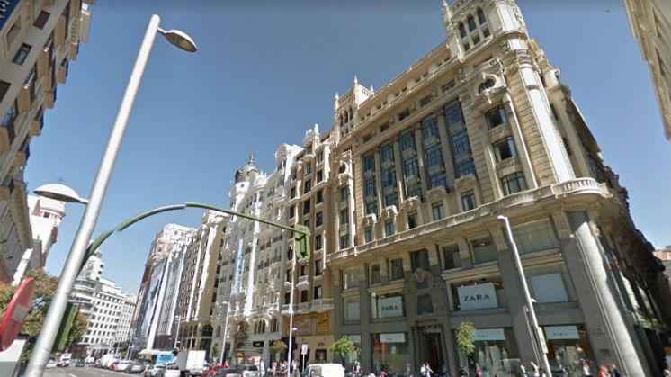 La fachada del Zara de Gran Vía, donde estaban las Galerías Velvet