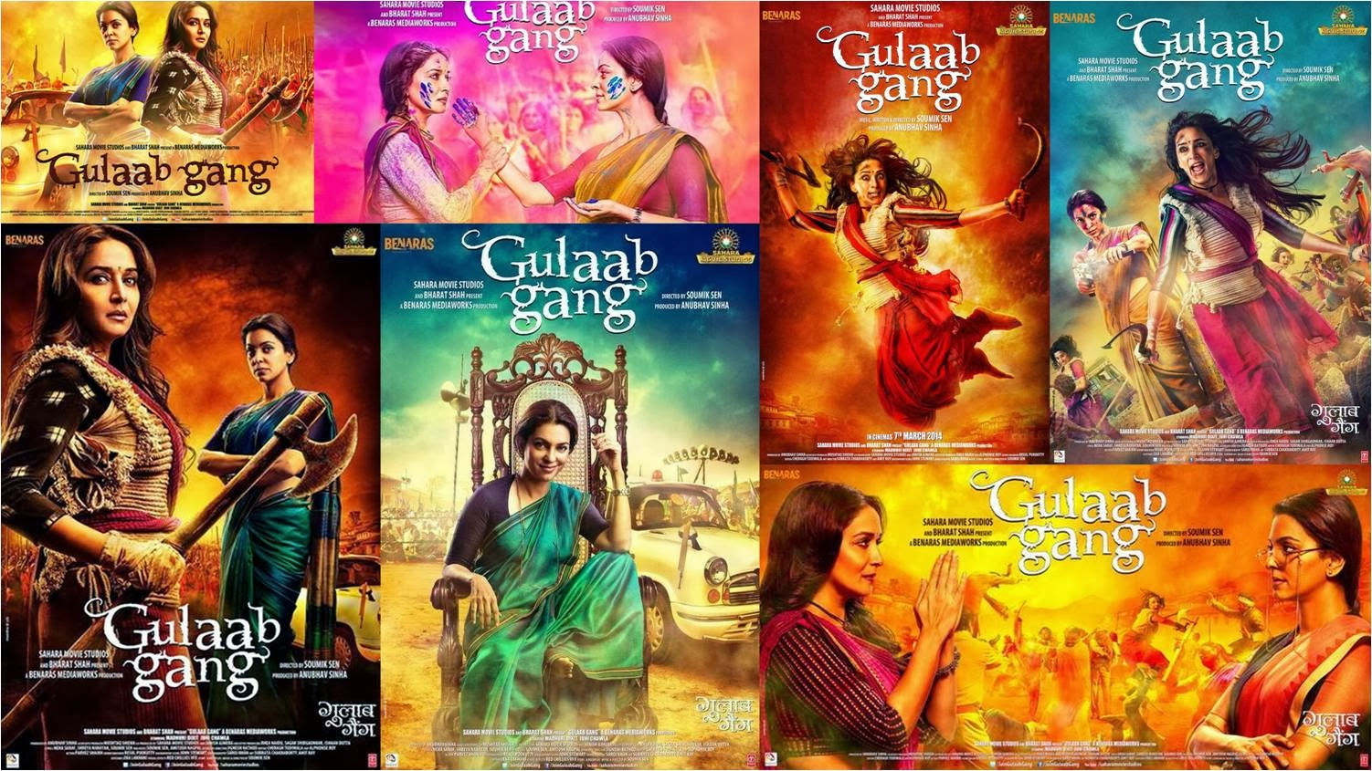 Bright colored official posters of Gulaab Gang movie featuring Madhuri Dixit and Juhi Chawla