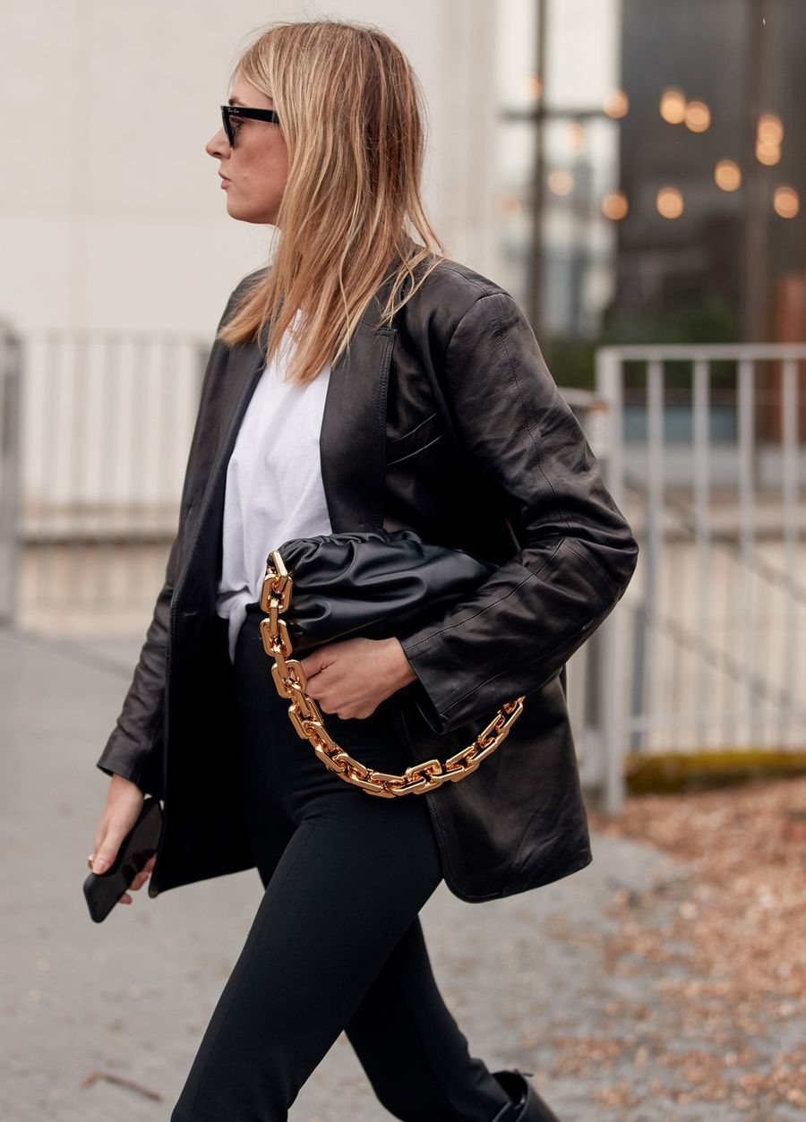 23 Best Chunky Chain Bags Trend — Bottega Veneta Chain Pouch — Camille Charriere Street Style