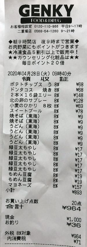 ゲンキー 二重堀店 2020/4/28 のレシート