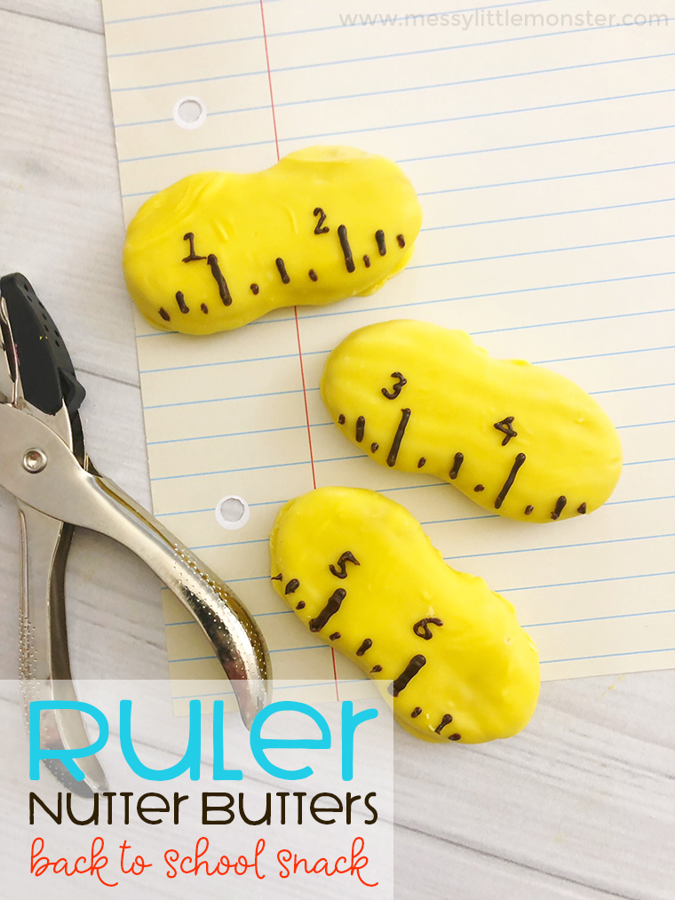 Ruler Nutter Butters -  A fun back to school snack idea. This easy back to school activity for kids tastes yummy too! Kids will love making fun snack ideas like these.