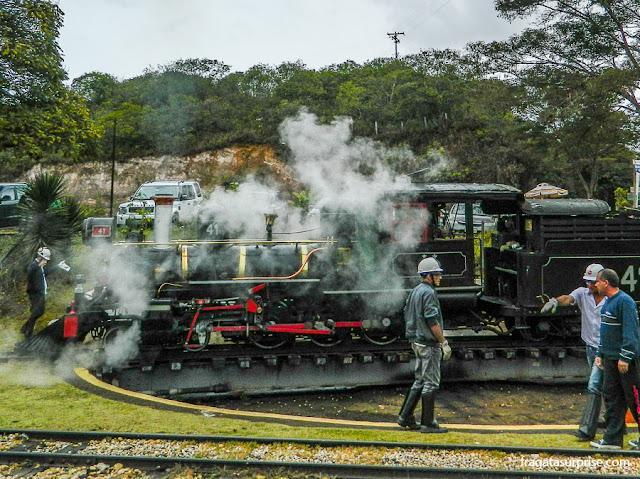 Maria Fumaça que faz o trajeto de São João del Rei a Tiradentes, Minas Gerais