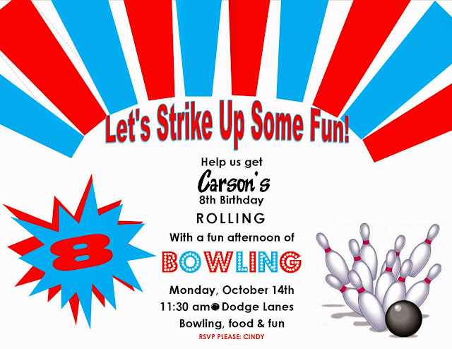 Bowling Birthday Party Invites
