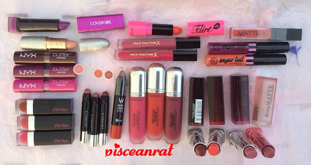 pisceanrat lip gloss collection, Covergirl, MAC x Mariah Carey, NYX Butter lipstick, Pink Sugar lipstick and sugar tint, A. Concept, W. Lab Velvet Color Stick, dearberry Flirt lipstick, Max Factor lip gloss, Revlon Ultra HD, Detail Matte, Maybelline Colorsensational and Rosy Matte lipstick.