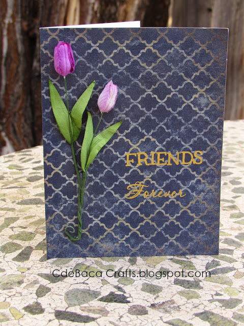 Handmade Tulip Friendship Card by CdeBaca Crafts Blogspot.
