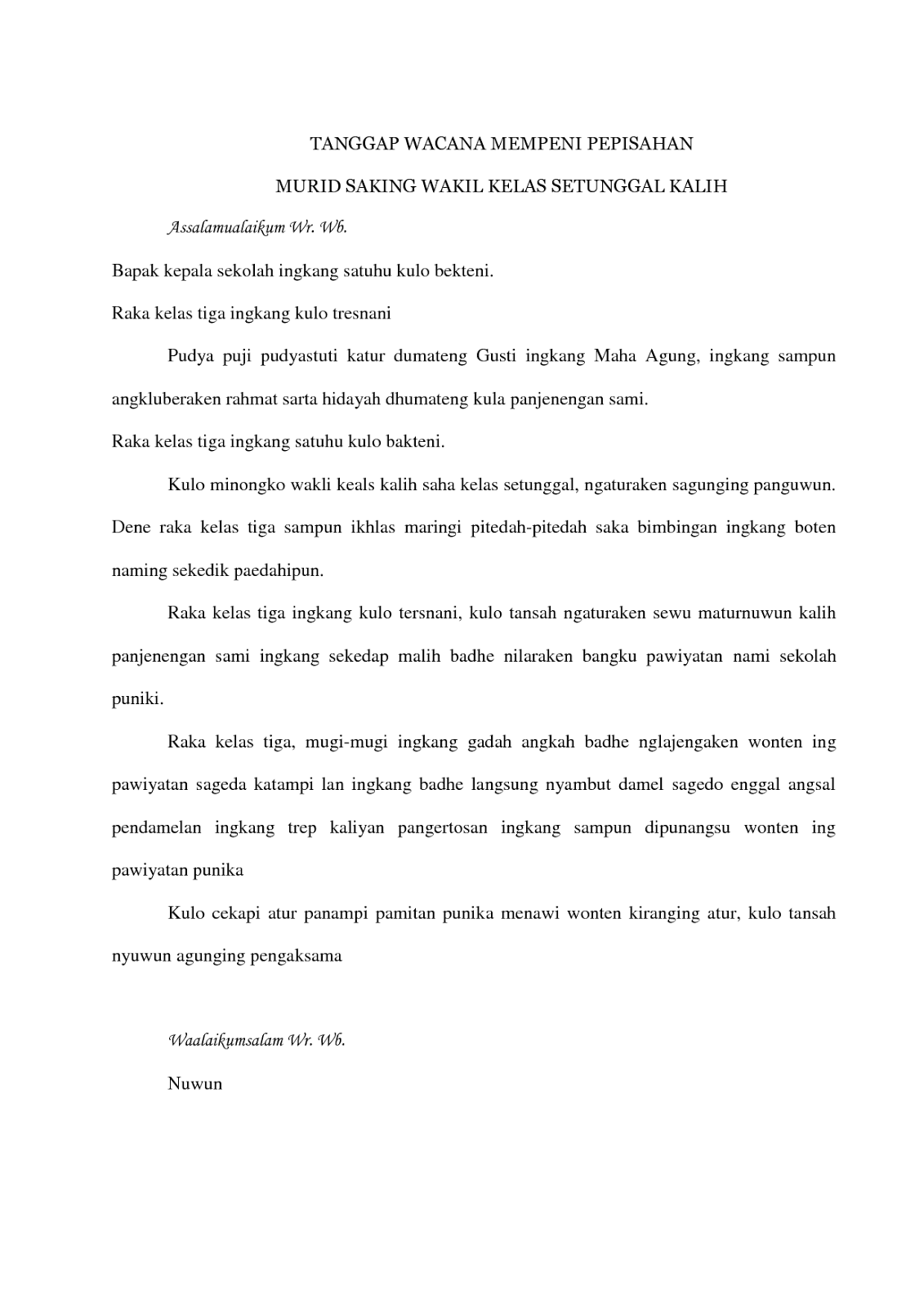 Contoh Biantara Dalam Bahasa Sunda Tentang Perpisahan Sportschuhe