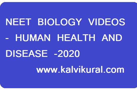 NEET BIOLOGY VIDEOS - HUMAN HEALTH AND DISEASE -2020