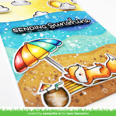 Sending Sunshine Card by Samantha Mann, Lawn Fawnatics Challenge, Lawn Fawn, Beach, Distress Inks, Ink Blending, Encouragement Card, #lawnfawnatics #lawnfawn #alltheclouds #onthebeach #distressinks #inkblending #cardmaking