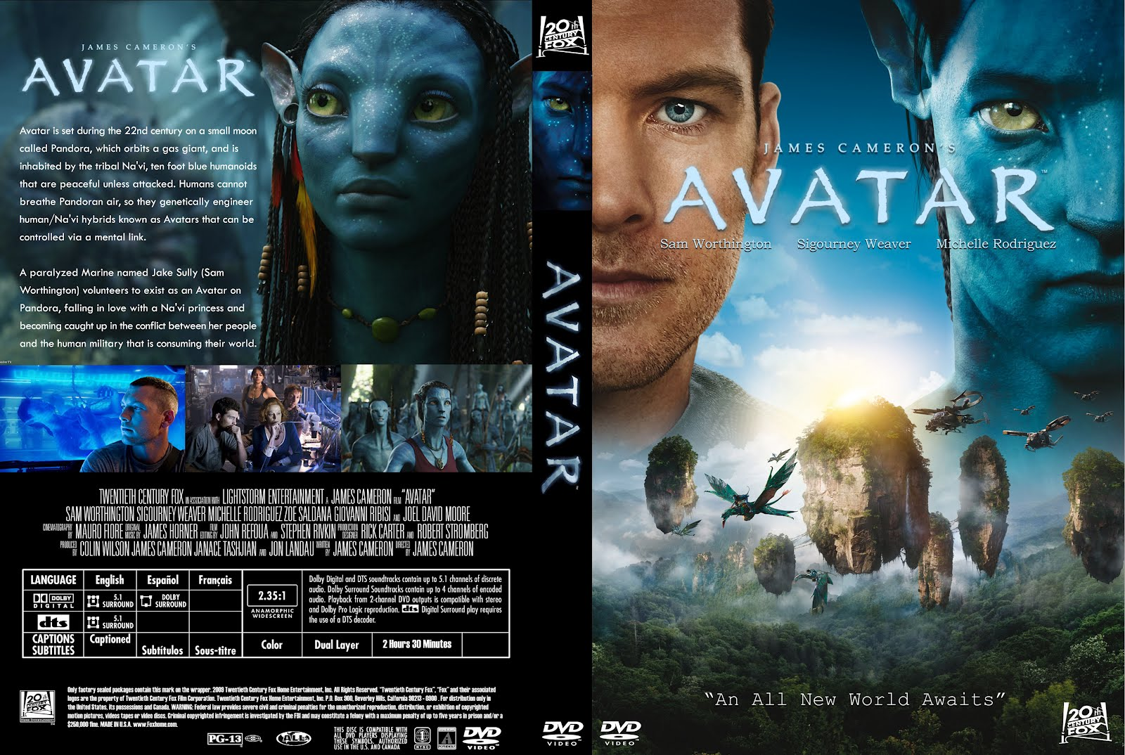 avatar 2009 movie poster and dvd cover art