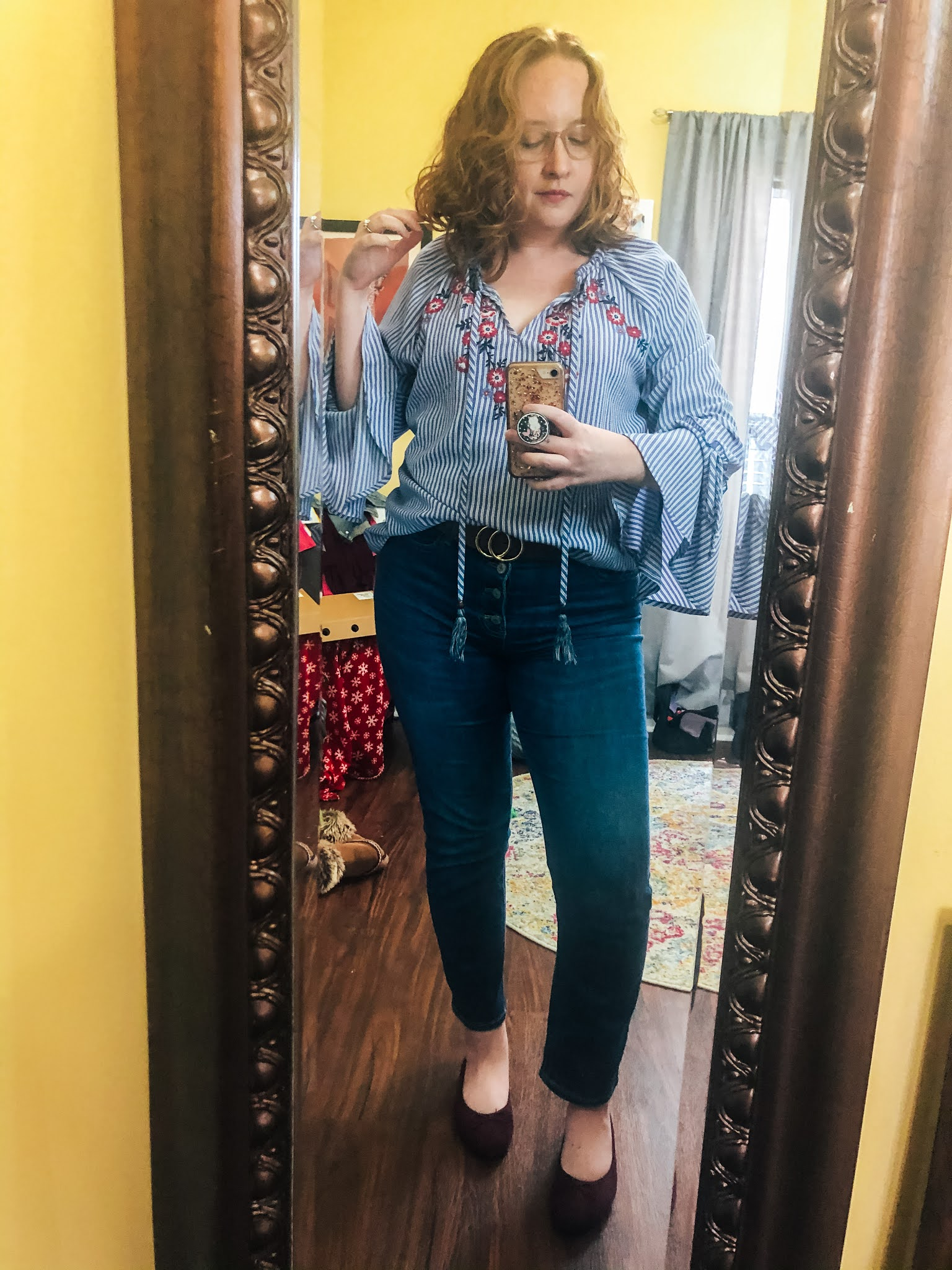 embroidered-striped-blouse-button-fly-jeans