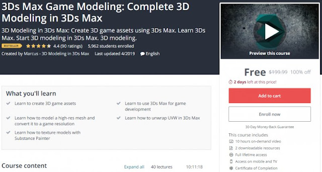 [100% Off] 3Ds Max Game Modeling: Complete 3D Modeling in 3Ds Max| Worth 199,99$