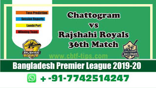 Who will win Today BPL T20, 36th Match Rajshahi vs Chattogram - Cricfrog