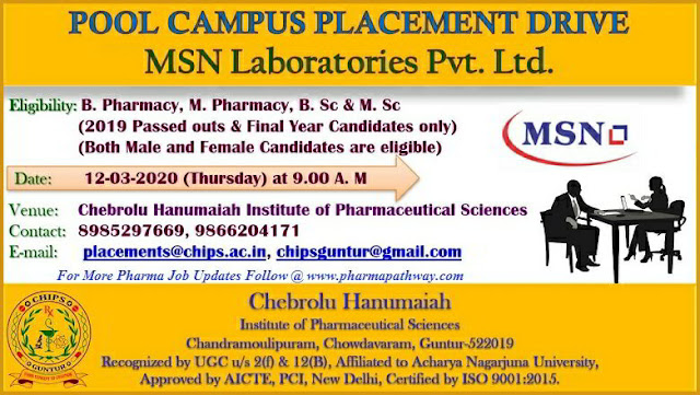 MSN Laboratories conducting Pooled Campus drive for Freshers on 12th Mar' 2020