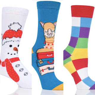 Seamless socks designs including Snowman, Llama and Elmer