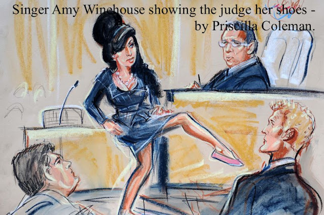 Singer Amy Winehouse showing judge her shoes. City of London Magistrates Court, where she was acquitted of assault after being accused of hitting a fan when she requested a photograph with her. by Courtroom Artist Priscilla Coleman
