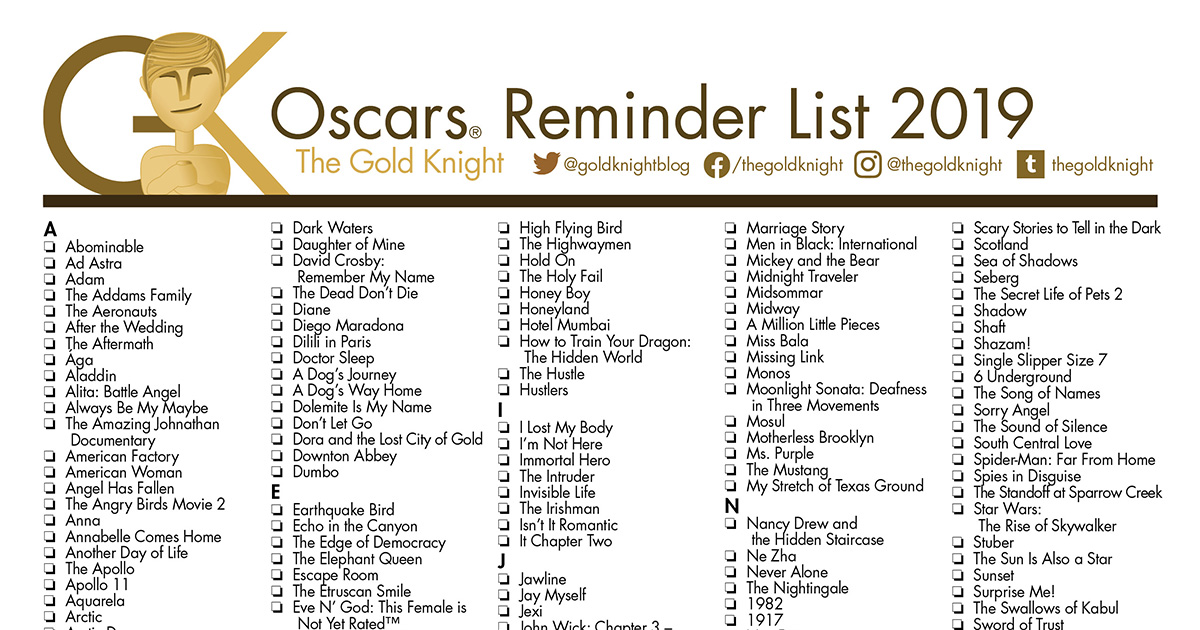 Oscars 2020 Printable Best Picture Reminder List How