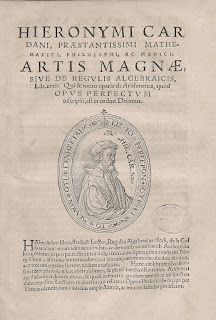 The cover page of Ars Magna, seen as Cardano's magnum opus